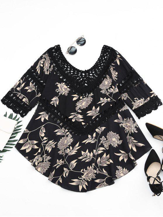 Blouse Asymétrique Imprimée Florale à Panneau en Crochet - Noir Taille Unique