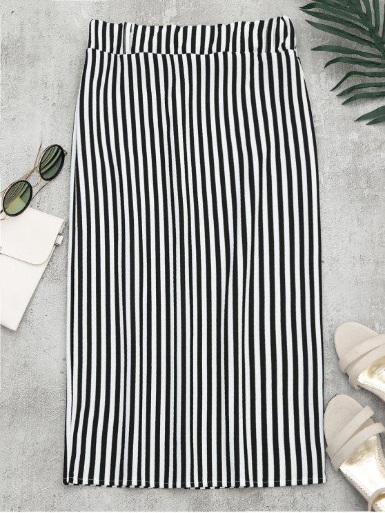 latest High Waist Slit Striped Skirt - STRIPE M