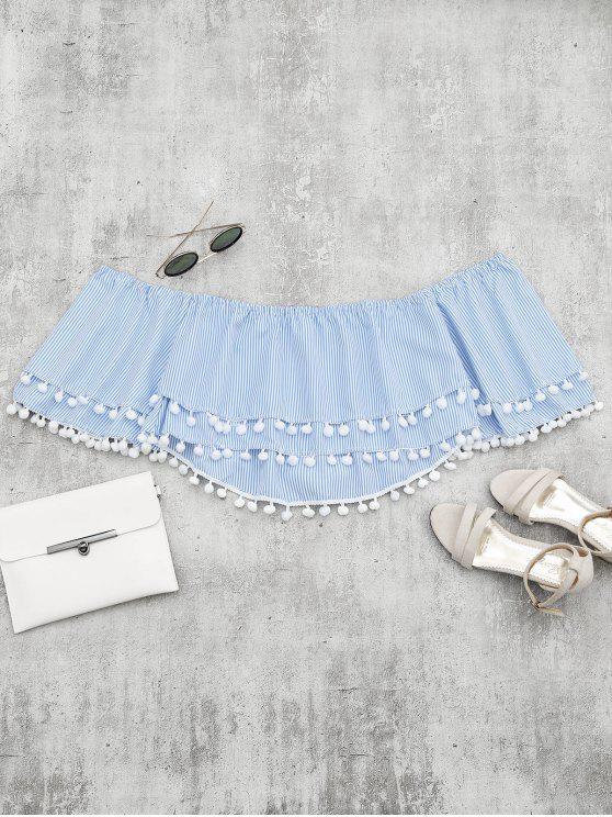 affordable Embellished Striped Tiered Crop Blouse - LIGHT BLUE M