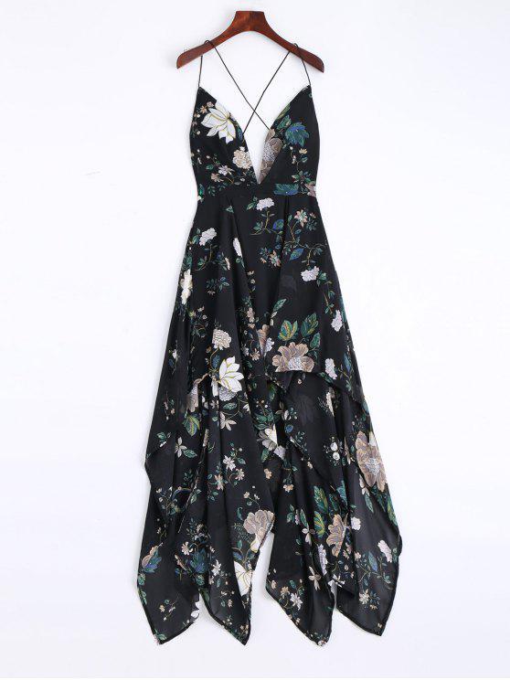 buy Cami Cross Back Floral Maxi Handkerchief Dress - BLACK S