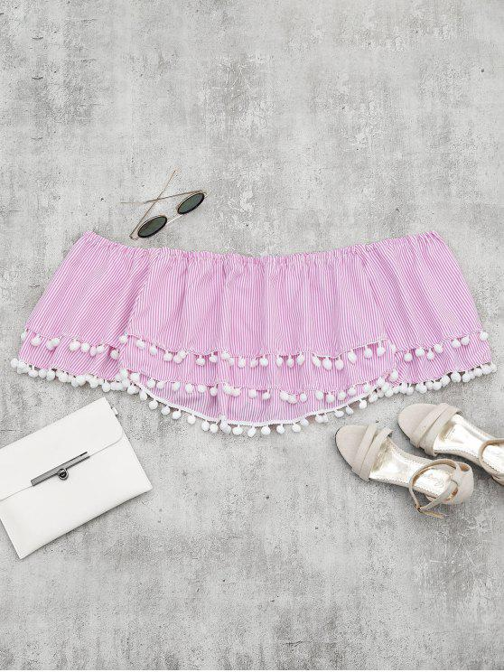 best Embellished Striped Tiered Crop Blouse - PINK S