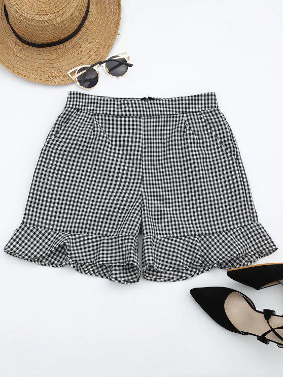 outfit Ruffle Hem Checked Pocket Shorts - CHECKED M