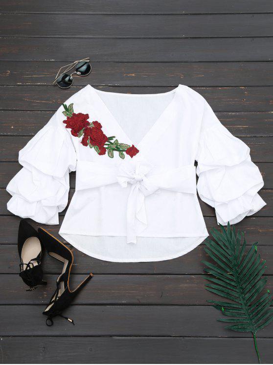 shops V Neck Floral Patched Belted Blouse - WHITE XL