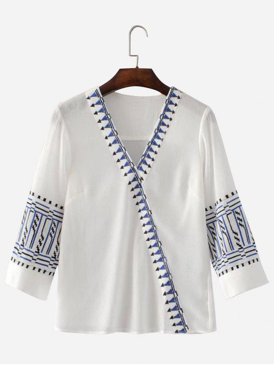 trendy Embroidered V Neck Blouse - WHITE S