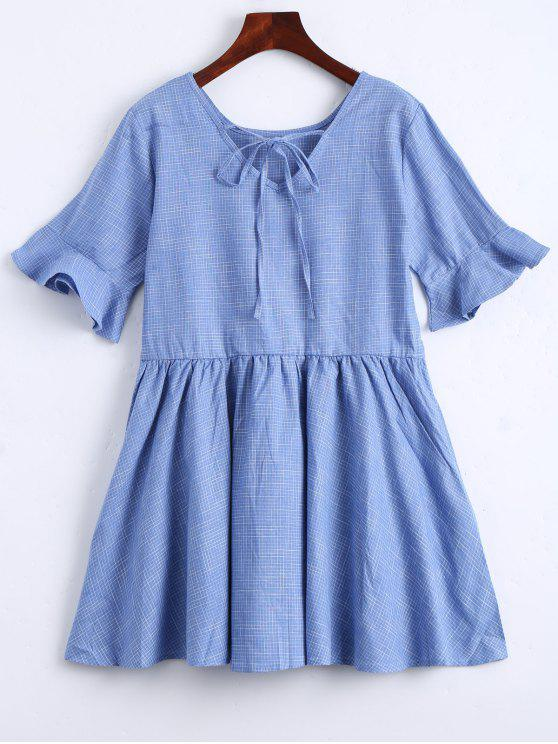 affordable Ruffle Hem Checked Bowtie Dress - LIGHT BLUE XL
