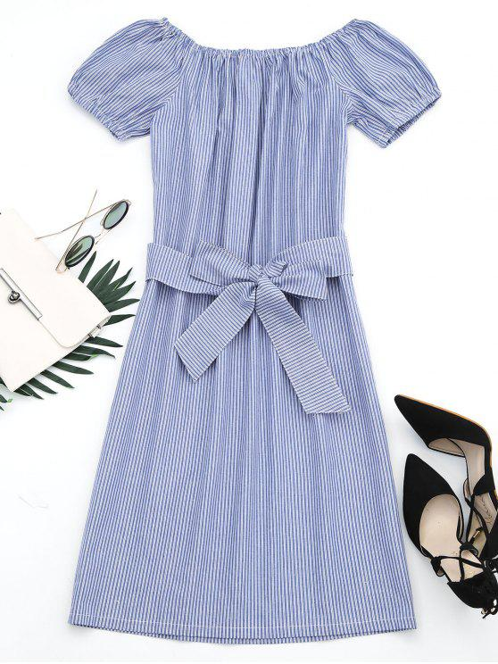 hot Off The Shoulder Striped Belted Dress - STRIPE L