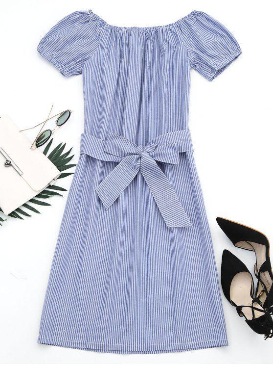 Off The Shoulder Striped Belted Dress - Raya L