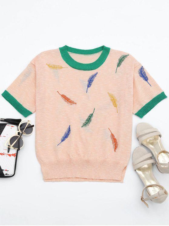 best Leaves Patchwork Short Sleeves Knitted Top - PINK ONE SIZE