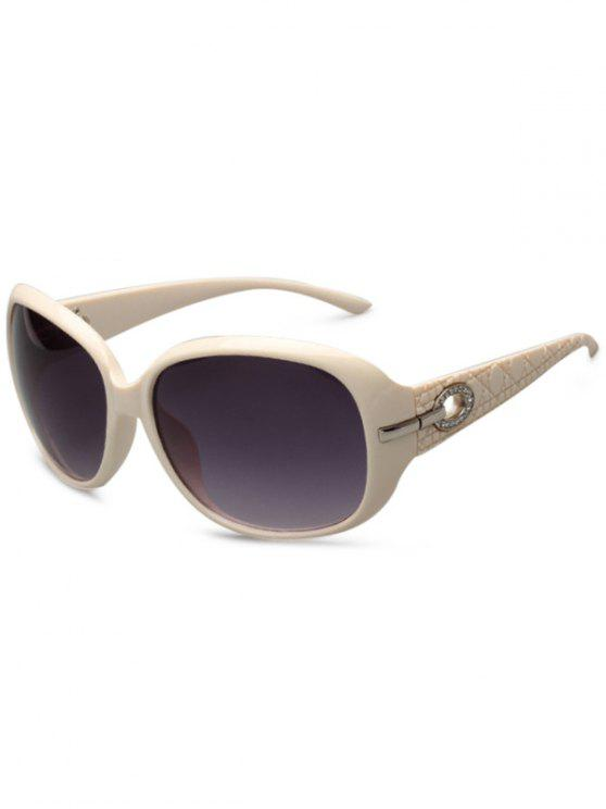 Rhinestone Decoration UV Protection Sunglasses - Off-white