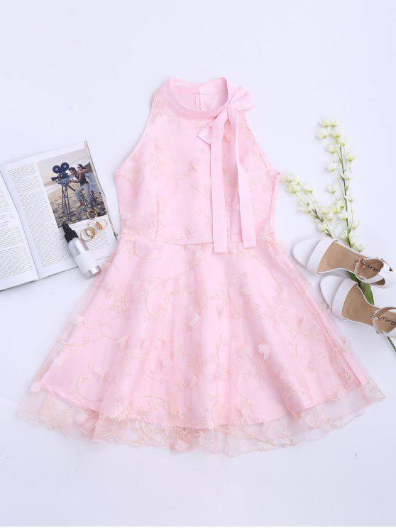 outfits Mesh Panel Bowknot Embellished Flare Dress - PINK M