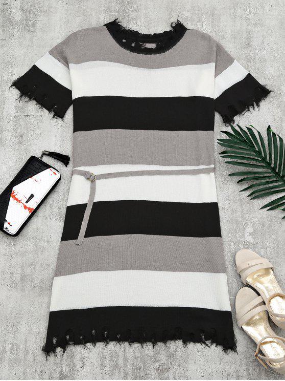 Contraste Ripped Hem Belted Knitted Dress - Preto Tamanho único