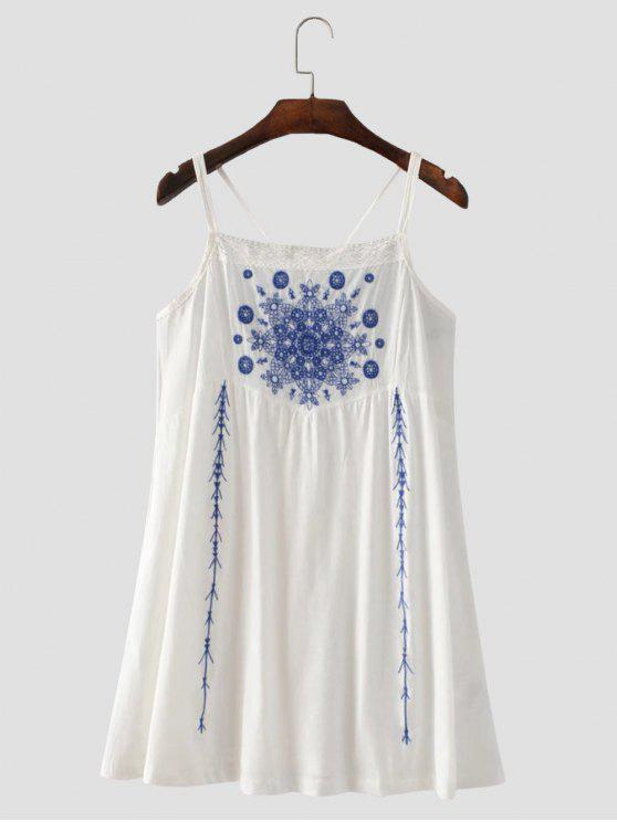 Vestido con Tirante Fino con Tira Cruzada con Bordado Floral - Blanco L