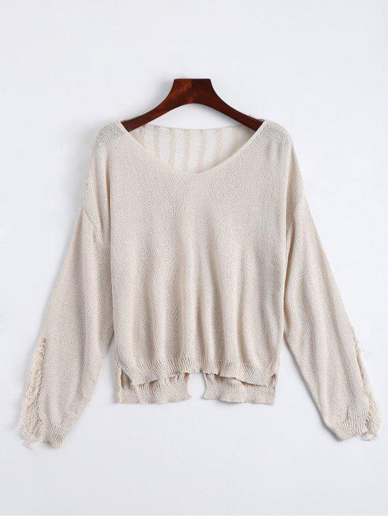 fancy V Neck Ripped Long Sleeve Knitted Top - APRICOT ONE SIZE