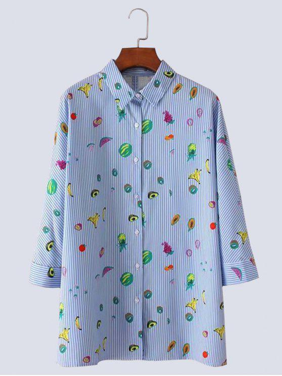 shops Fruit Print Button Up Slit Striped Shirt - LIGHT BLUE S
