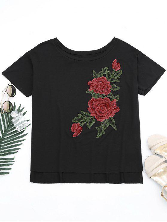 T-shirt Épaule Tombante Fente Effet Floral - Noir L