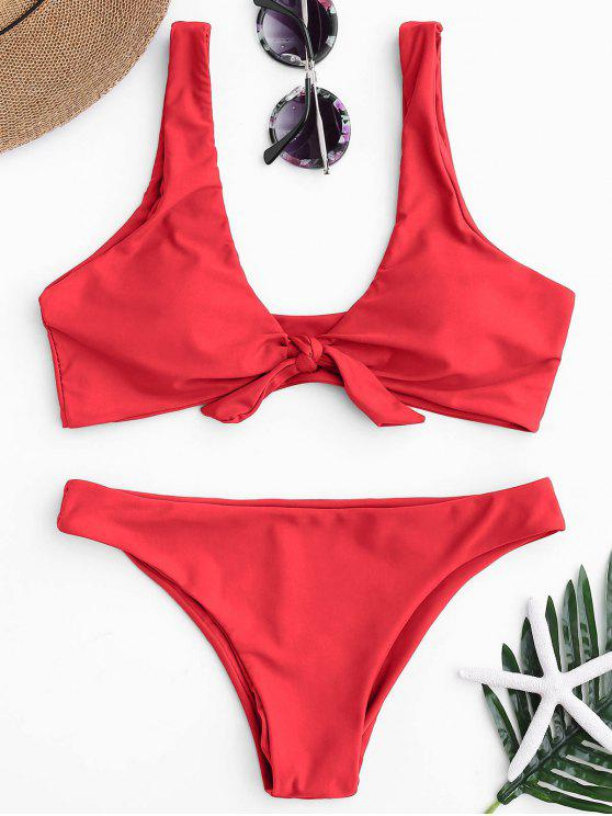 womens Knotted Scoop Bikini Top and Bottoms - RED S