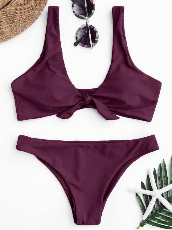 fancy Knotted Scoop Bikini Top and Bottoms - MERLOT S