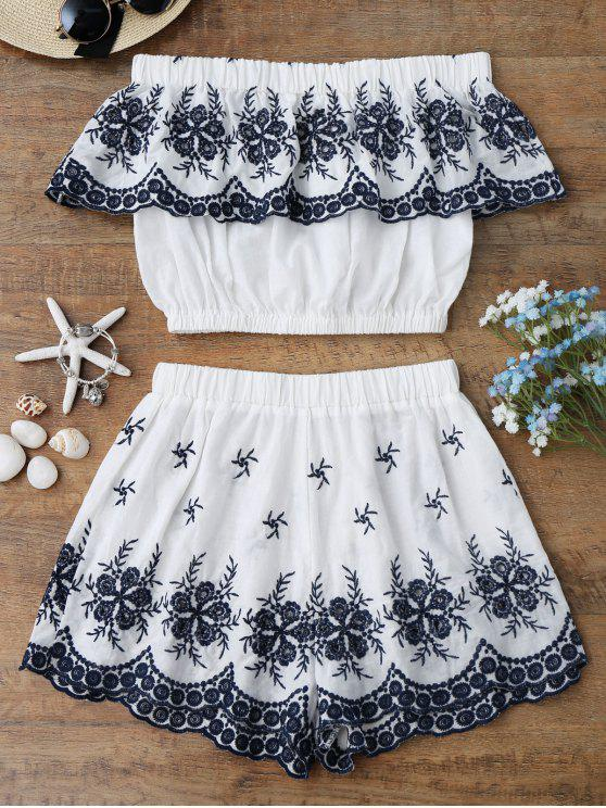 hot Off Shoulder Embroidered Crop Top with Shorts - WHITE L