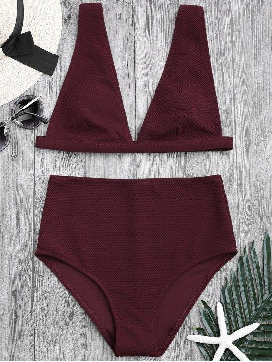 Texturisches tief hohe Taille Bikini Set - Burgund S