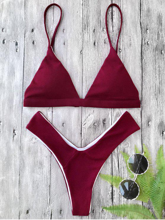 outfits Plunge Padded Textured High Cut Bikini Set - BURGUNDY L