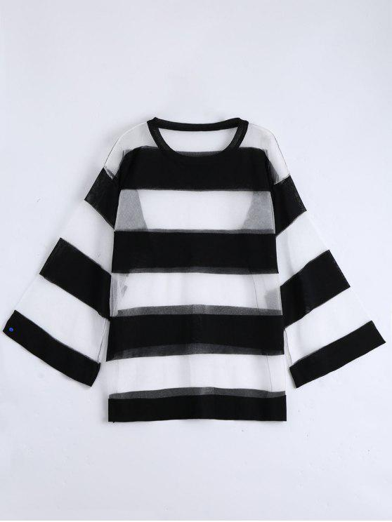 online Sheer Drop Shoulder Striped Blouse - BLACK ONE SIZE