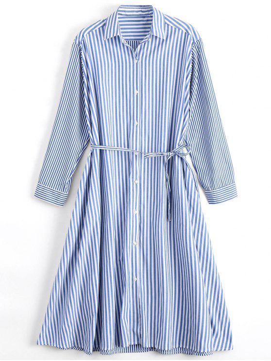 Long Sleeve Belted Stripes Shirt Dress - Stripe M