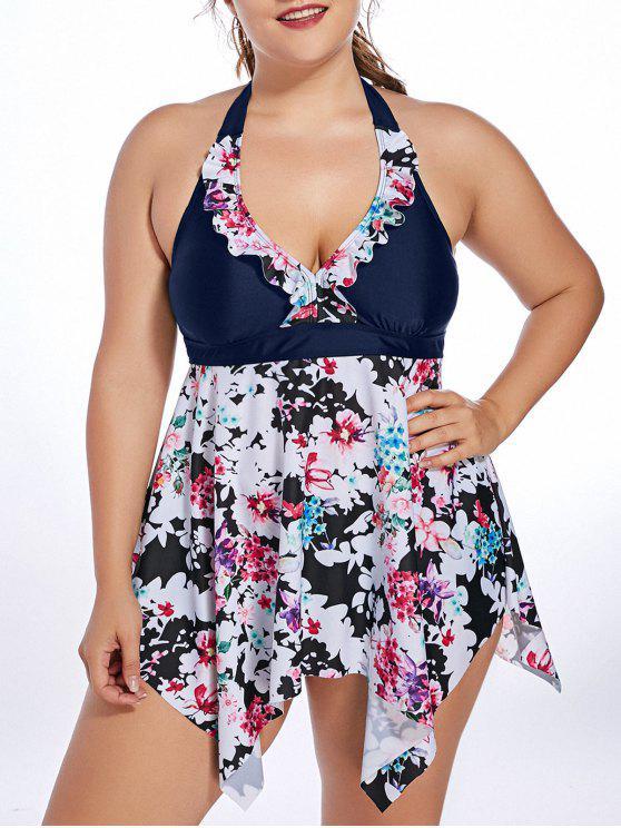 shops Halter Floral Handkerchief Plus Size Tankini Set - PURPLISH BLUE 5XL