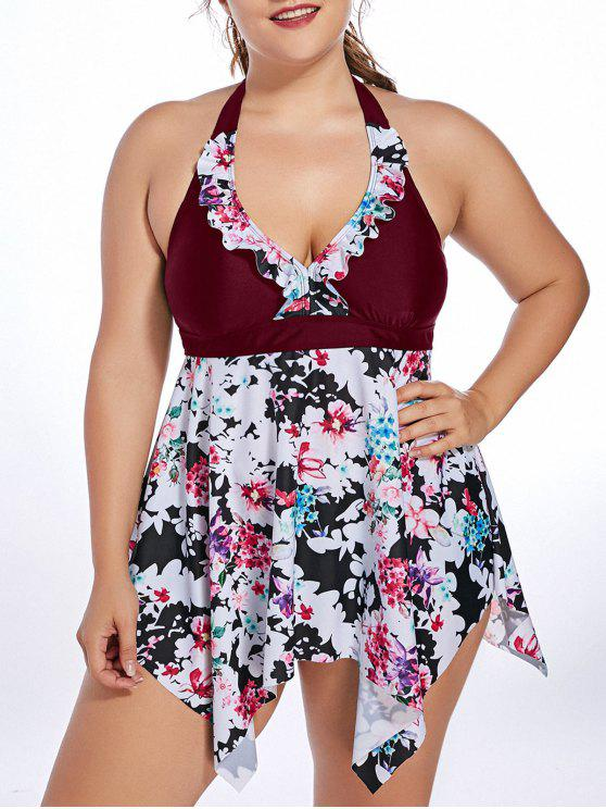 buy Halter Floral Handkerchief Plus Size Tankini Set - WINE RED XL