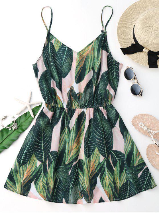 فستان طباعة الورقة لاستوائية كامي غطاء - أخضر S