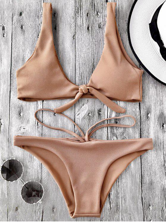 affordable Knotted Textured Scoop Bikini Set - CAMEL S