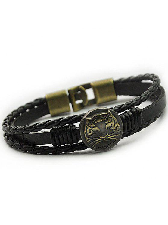 fancy Tiger Patterned Braid Faux Leather Bracelet - BLACK