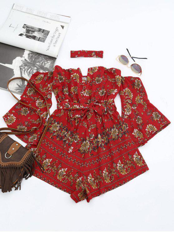 trendy Floral Belted Choker Romper - RED M