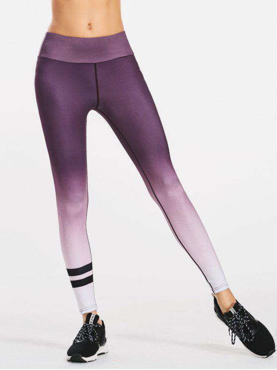 fancy Slimming Ombre Yoga Leggings - PURPLE L