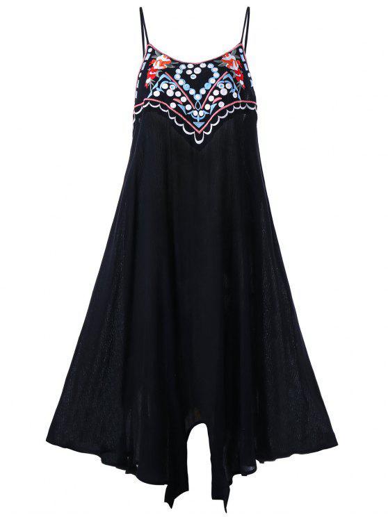 فستان الحجم الكبير مطرز صيف مثير - أسود 4XL