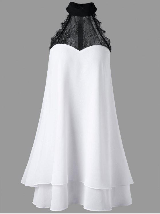 فستان سوينغ بلا أكمام مستقيم عالية الرقبة - أبيض M