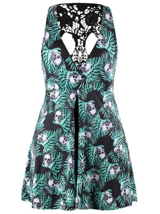 Skirted Plus Size Skulls Jungle Print Swimwear BLACK AND GREEN
