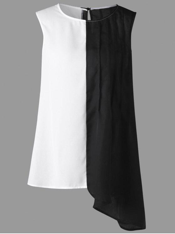 بلوزة الحجم الكبير بلا أكمام غير متماثلة - أبيض وأسود 4XL