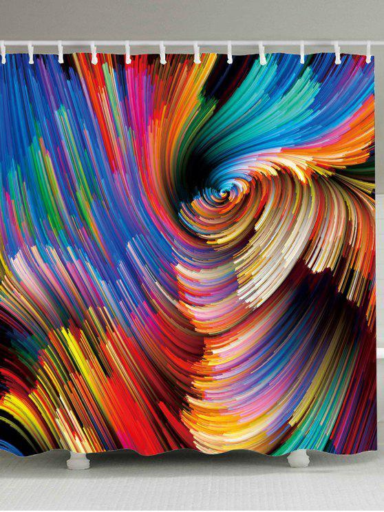 ملونة دوامة طباعة ماء دش الستار - ملون W71 بوصة * L79 بوصة
