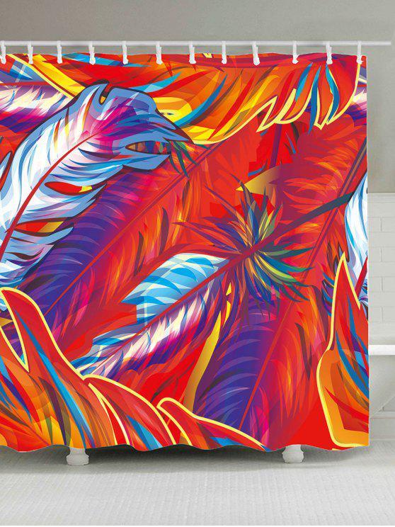 ستار الحمام طباعة الريشة بوهيمي - أحمر W65 بوصة * L71 بوصة