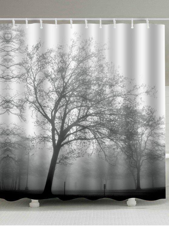 مقاومة للماء شجرة طباعة النسيج دش الستار - رمادي أبيض W59inch*L71inch