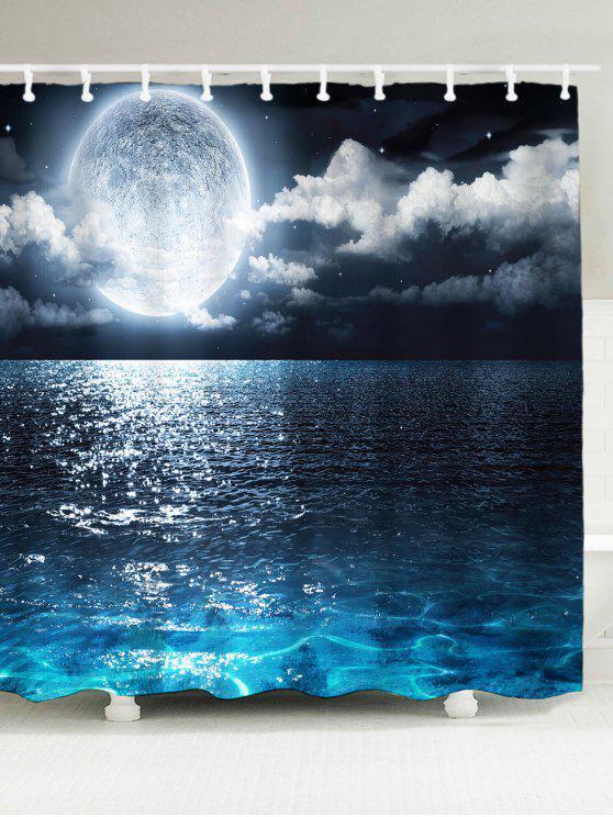 شاطئ البحر طباعة ماء دش الستار - أزرق W59inch*L71inch
