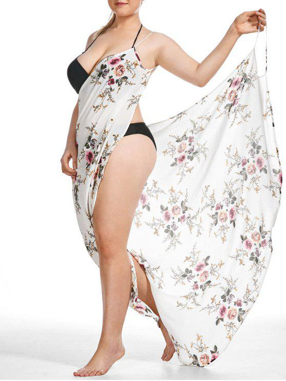 2018 Plus Size Tiny Floral Beach Cover Up Wrap Dress In White 3xl