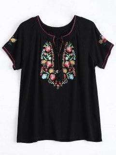 String Tassels Floral Embroidered Top - Black L