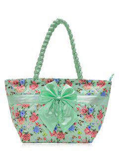 Bow Quilted Shoulder Bag - Green