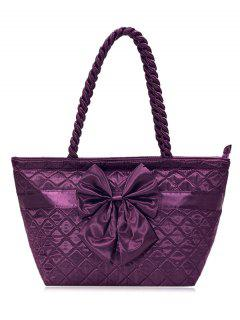 Bow Quilted Shoulder Bag - Deep Purple