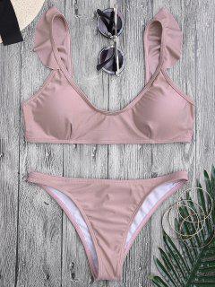 Bikini Paddé à Bretelle à Col Rond Et Bas Avec Décoration De Falbalas - Rose PÂle S