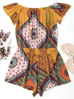 Printed Off Shoulder Cover Up Romper - Yellow M