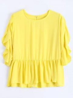Loose Chiffon Ruffles Top - Yellow L