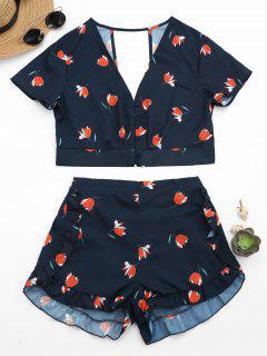 Floral Button Up Top And Ruffles High Waisted Shorts - Purplish Blue L