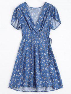 Tiny Floral Tauchen Hals Wrap Kleid - Blau L